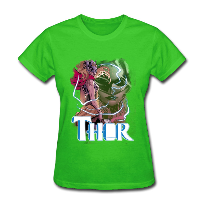 Gift Thor Storm T Shirt Coupons Summer Short Sleeve O-Neck Tops & Tees All Cotton Women Casual Clothing Shirt Free Shipping Thor Storm green