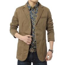Brand New! blazer men Casual Blazers Cotton Denim Parka Men's slim fit Jackets Army Green Khaki Large Size M -XXXXL