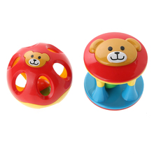 2pcs Baby Handbells Colorful Musical Developmental Toy Cute Cartoon Bear Bed Bells Kids Baby Intelligence Toy Grasping Ball(China)