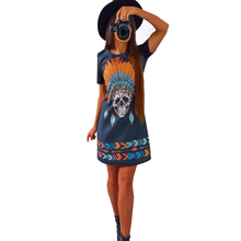 Print Punk Rove Skull Russia Dress Women Color Retro Vintage Dress Summer 2017 Short Sleeve Sexy Casual Mini Shift Shirt Dress