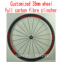 1pcs customized 700C bike 38mm full carbon fibre bicycle clincher rims wheelsets Free shipping