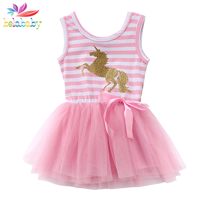 2019 Little Girl Baby Unicorn Dress Summer Sleeveless Striped Pink Tulle Party Birthday Tutu Dresses for Girls 1 2 3 4 5 Years