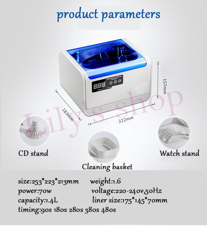 JIQI 1.4L Smart Ultrasonic cleaner Intelligent Digital ultrasonic Jewelry Glasses Circuit Board cleaning machine Bath 110V 220V
