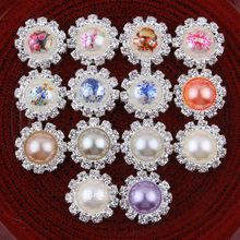 120pcs/lot Chinese Style Round Decorative Flatback Crystal Pearl Buttons for Hair Accessories Metal Rhinestone Buttons for Craft