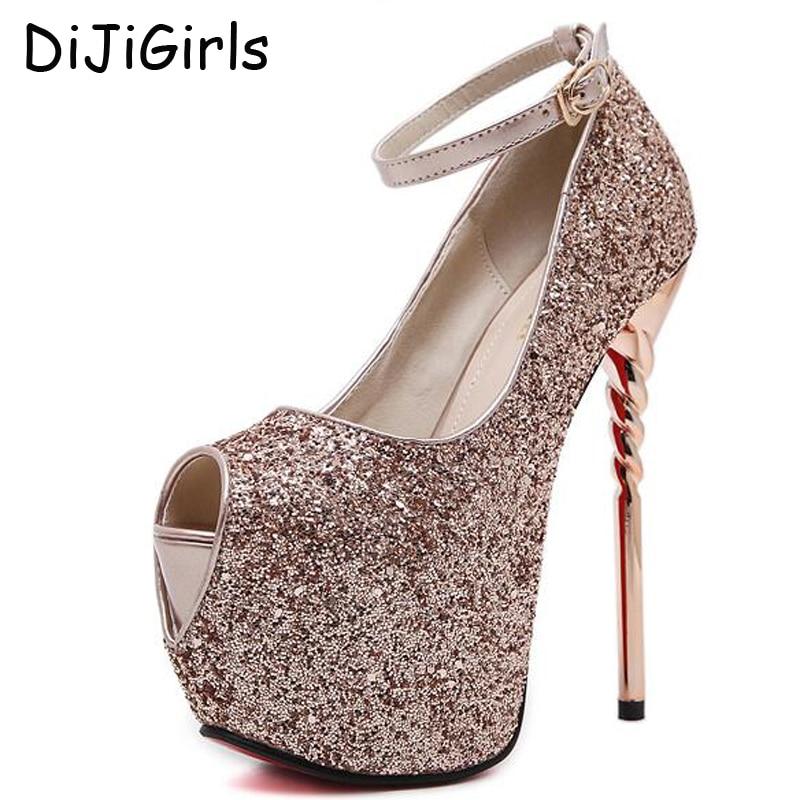 dress shoes high heels sexy pumps silver wedding shoes women gold pumps platform shoes peep toe party shoes women heels d1107