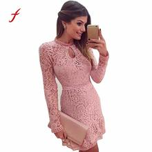 Buy FEITONG Dress female Sexy Pink Hollow Lace Long Sleeve Slim Dress Spring Party Dresses Fashion Solid O-Neck Women's dress 2018 for $8.62 in AliExpress store