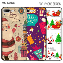 Merry Christmas Cell Phone Cases Cover For Iphone Apple 5C 5S SE 6 6S 6SPlus Father Christmas Shell For Iphone 7 8 Plus X case(China)