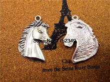 6 PCs - Horse Head Charm, Horse Pendants, Horse, Cowboy,, Western, Fittings, Accessories, DIY Supplies, Jewelry Making, 43*29MM(China)