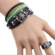 Factory Wholesale Suite Three-piece Real Leather Bracelet Cross Ring Jewelry Sets 12sets/lot Free Shipping