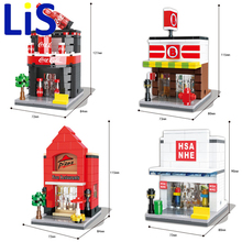 Lis HSANHE Small Blocks Street store Plastic Blocks DIY Building Bricks Micro Street Shop Model Toy Kids toys Gifts 6412-6415