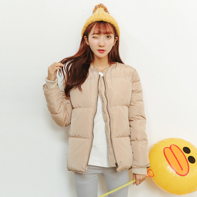 Thicken woman coat cotton padded jackets winter 2017 khaki outerwear warm coats female long sleeve short coat zipper slim coatÎäåæäà è àêñåññóàðû<br><br>