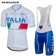 2017 Men cycling jersey set white blue Italia national clothing bike wear road mountain maillot NOWGONOW gel pad bib shorts(China)
