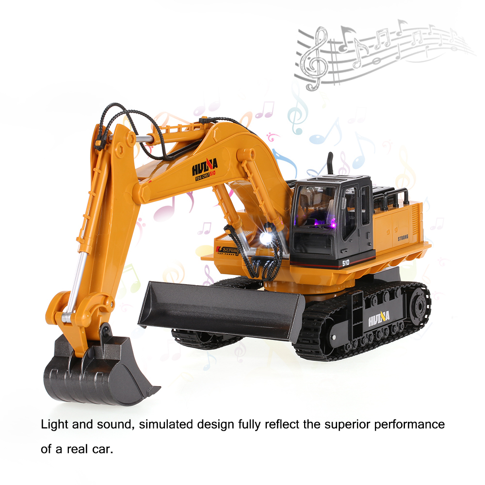 2.4GHz 11CH Alloy Engineering Truck Electronic Metal Excavator Heavy Machinery RC Toys Car Truck HuiNa 1510