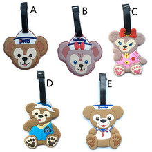 Cartoon Duffy Bear Luggage Tag PVC Suitcase Label Name Address Identification Holder Consignment Baggage Tag Travel Accessories