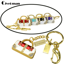 Retail Jewelry Keychain Crystal Luxury Hand Bag USB Flash Drive 8GB Pen Drive 16GB Memory Stick 32GB Flash Drive 64GB Pendriver(China)