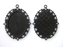 10pcs Large Black Frame 30x40mm Oval Blanks Pendant Tray Cameo Cabochon Setting