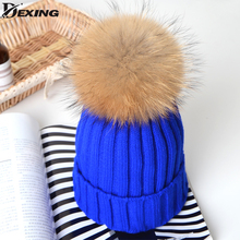 2017 1-6 Years Real Fur Winter Hat Raccoon Pom Pom Hat For Children Baby Thick Boys Hat Girls Pink Caps Knitted Beanies Cap(China)