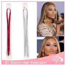 100pcs/lot Clip In Hair Extensions 16Inch No Trace 1 Clip Hairpiece BellaVia Tinsel Hair Extension Bling String 3D Rainbow