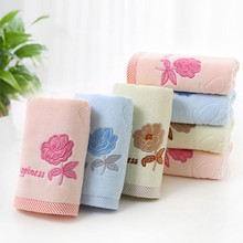 High Quality Home Towels Textile Cotton Embroidered Rose Face Towels Adults Home Kitchen Use