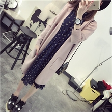 Fashion Female Women Ladies' Spring Autumn Winter Long Style Knitted Sweater Cardigan Pocket Sold Color Casual All-match Jersey