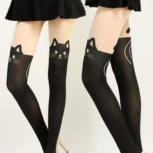 Summer Style Fashion Gifts Fashion New Women Silk Stockings Pantyhose Ribbed Over Cute Cat Rabbit Sexy Slim Tights 2016 New(China)