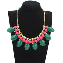 Sell Well Green Rhombus Resin Pendant Statement Necklaces for Women Rhinestone Necklace & Pendants Summer Style Jewelry CJNW81