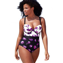 2017Sexy Big Size 3XL Curve Push Up Swimsuit One piece High Cut Print Swimwear Monokinis One-piece Swimming suit For Women(China)