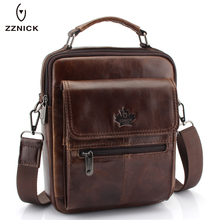 New Fashion Men Genuine Leather Messenger Bag Male Oil Wax Leather Cross body Shoulder Bag First Layer Cowhide Men Bag Briefcase(China)