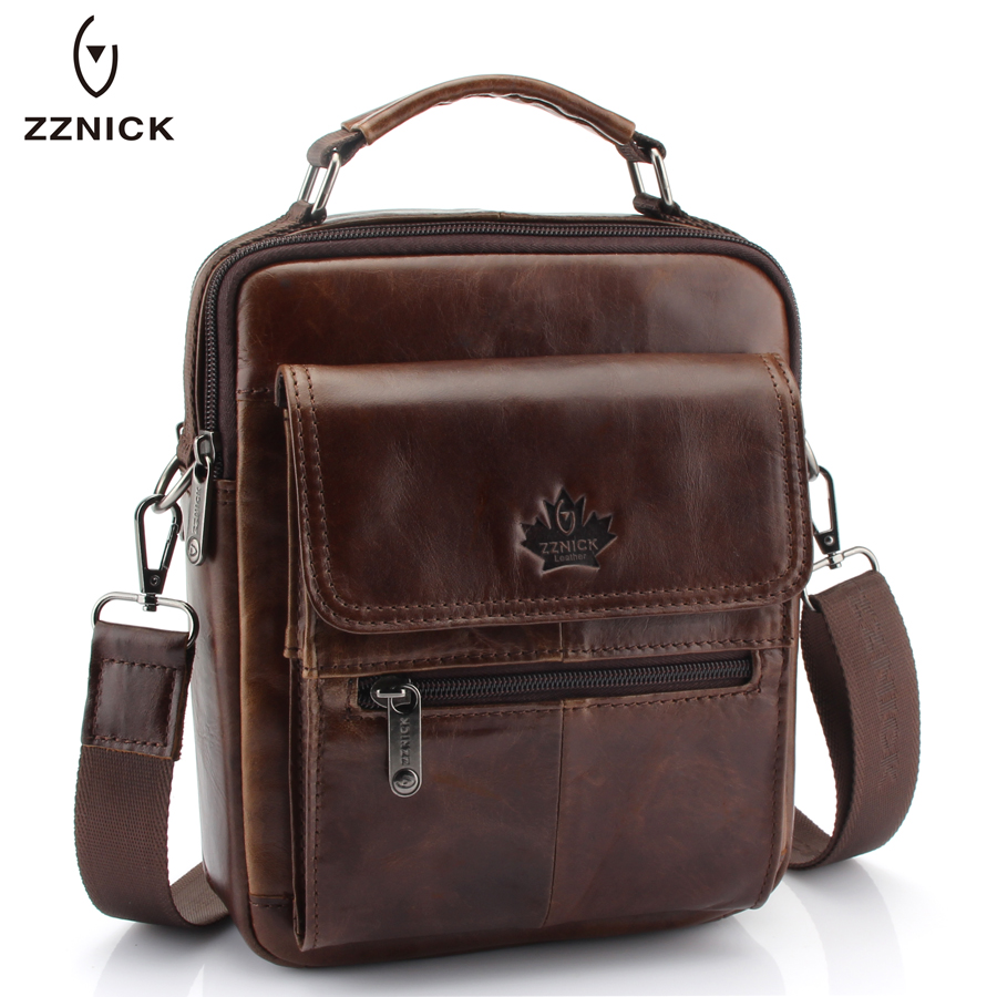 Image New Fashion Men Genuine Leather Messenger Bag Male Oil Wax Leather Cross body Shoulder Bag First Layer Cowhide Men Bag Briefcase