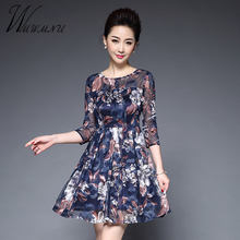 2017 spring new women's print and lace party  bodycon dresses vintage  style silk plus size 4XL dresses factory direct sale F136