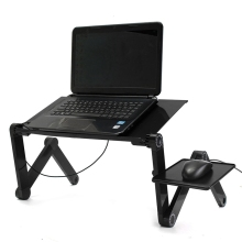 Adjustable Foldable Notebook Laptop Desk Table Stand Bed Tray Portable Laptop Stand Aluminium Holder with Mouse Pad USB Cooler