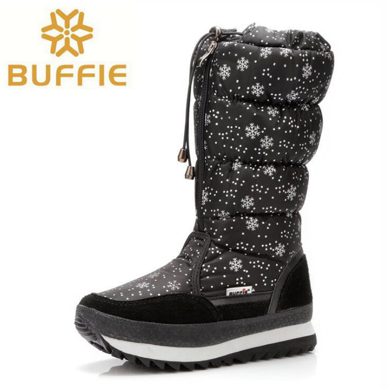Women boots high quality waterproof winter shoes women platform thick plush warm high snow boots for -40 degrees <br>