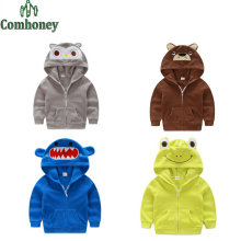 Spring Toddler Boys Hoodies Bear Owl Frog Crocodile Coat for Boys Fleece Baby Outwear Hooded Cartoon Children Jacket Clothing