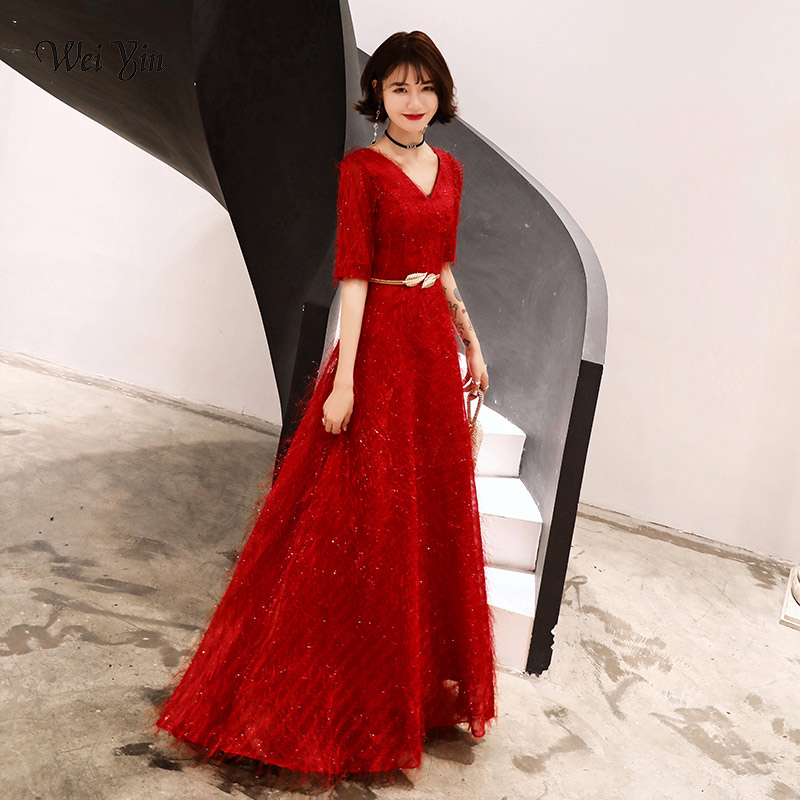 wei yin 2019 New Half Sleeve Long Evening Dresses Women's Cheap Lace Red Black White V-neck Formal Elegant Party Dresses WY1635