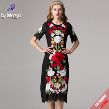 New Fashion Black Lace Dress Runway Designer Women Vintage Bodycon Slim Sheath Gorgeous Lace Embroidery Dress Free Fast Express(China)