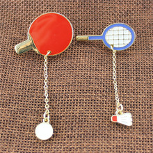 Badminton table tennis two style red white enamel girl brooch 2017 jewelry manufacturer pins  wholesale