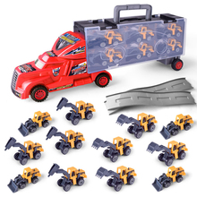 1:30 Scale Diecast Metal Alloy Plastic Model Toys Truck Hauler + 12pcs Construction Vehicles Small Cars For Children Gifts(China)