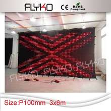 Free shipping 3M*6M P10  hot sale colourful effects led video Curtain,flexible led display ,soft led video wall