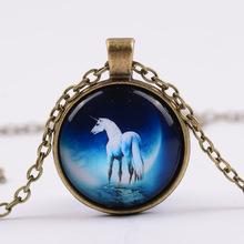 Moon and stars Smarter Animal Glass Necklac Vintage Tree of Life Time Synthetic Gemstone Pendant Necklace G96