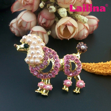 Customized Gold Pating Pink Rhinestone Pear Poodle Dog Brooch Women Dress Animal Broach Jewelry