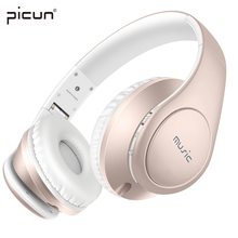 Picun Rose Gold Wireless Girls Earphones and Headphone TF Card MP3 Bass Running Sport Bluetooth With Mic High Quality Headset