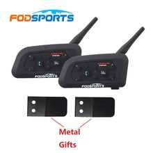 2 pcs 2017 Updated Version Fodsports V6 6 riders Pro Motorcycle Helmet Bluetooth Intercom Headset Moto BT Interphone+Metal Sheet(China)