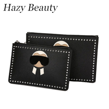 Hazy beauty New monster doll women pu leather clutch high chic hot design lady handbag easy taking madam bags hot  DH114