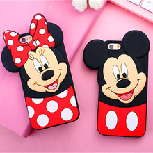 New 3D Cute Mickey Minnie Mouse Cartoon Soft Silicone Phone Case For iPhone 7 7Plus 4 4S 5 5 5S SE 6 6S 6Plus Rubbe Back Cover