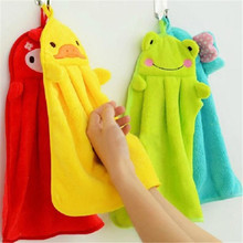 Lovely Cartoon Children Microfiber Hand Dry Towel For Kids Soft Plush Fabric Absorbent  Hang Towel  Kitchen Bathroom Use