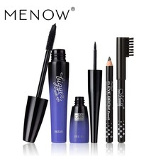 by DHL 500Sets/Lot MENOW Brand Eyes Makeup Kit Mascara&Liquid Eyeliner&Eyebrow Pencil Waterproof Eye MakeUp Combination Cosmetic(China)