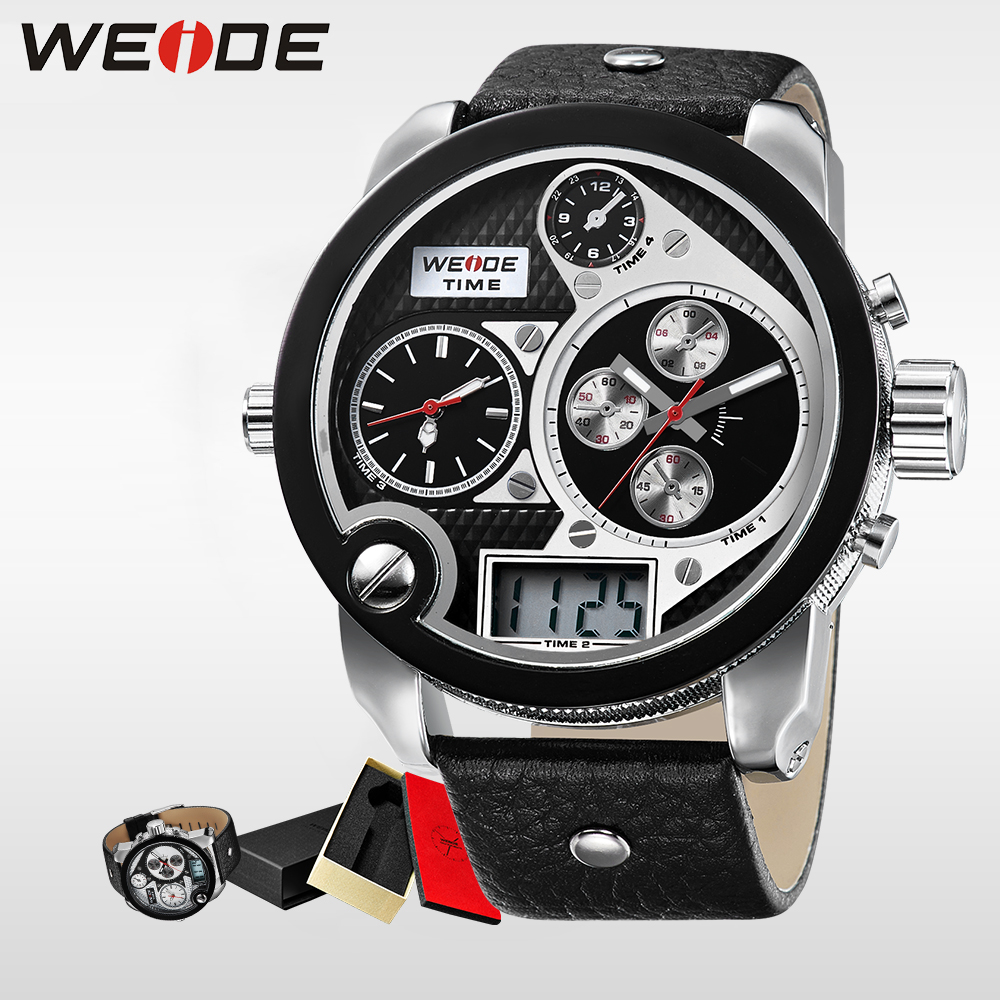 WEIDE Top luxury brand Mens Time Watch LCD 3ATM Water Resistant Leather Strap digital Round Dial Wristwatches Gifts Men watch<br>