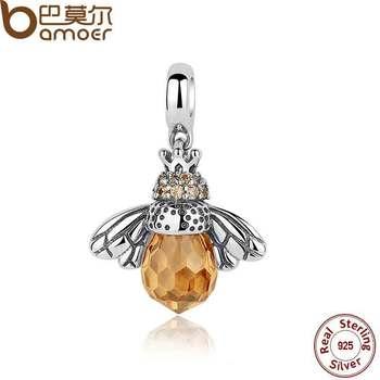 BAMOER Классический 2016 Новый Стерлингового Серебра 925 Orange Крыла Животных Bee Подвески fit Браслет для Женщин Аксессуары SCC035