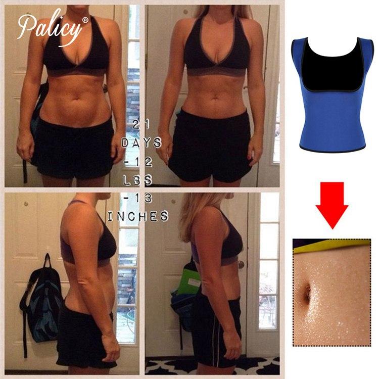 Palicy Women's S-2XL Sauna Vest Suit Neoprene Body Shaper Thermo Ultra Sweat Waist Trainer Female Tummy Control Belly Girdle 3
