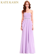 Kate Kasin Lavender Bridesmaid Dresses Long Chiffon Dress Floor Length Bruidsmeisjes Jurk Wedding Party Purple Bridesmaid Dress